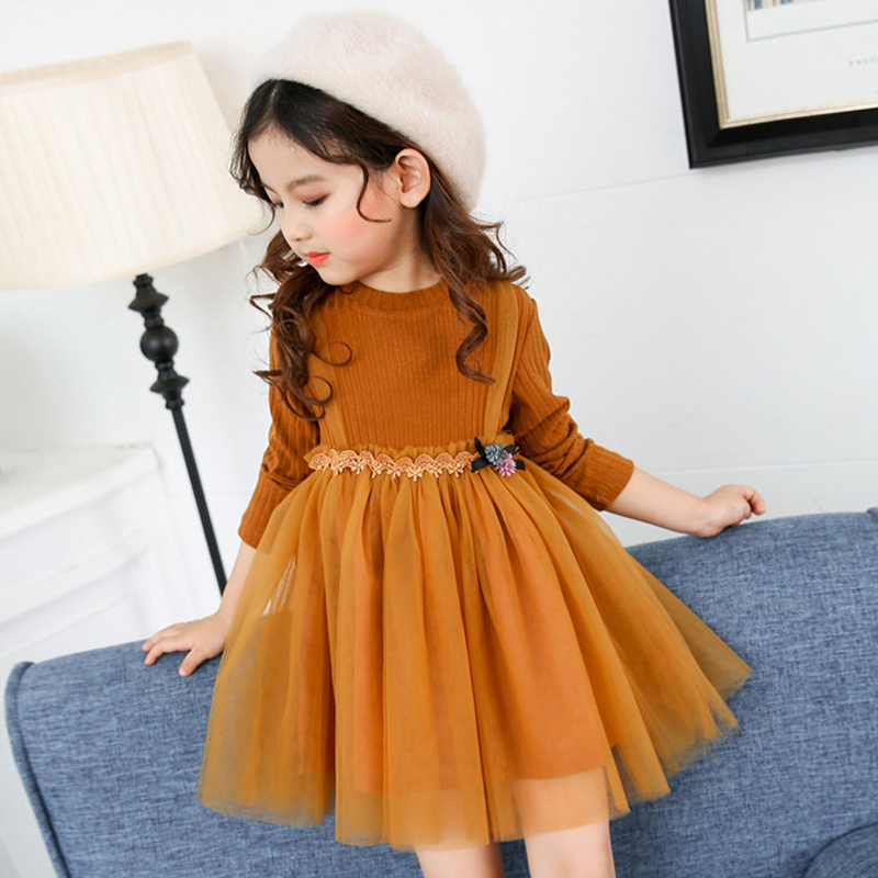 2017 New Autumn Spring Winter Brand Baby Girls Clothing Long Sleeve Sweater Princess Dress Kids Knitting Ball Gown Dresses XL682  fashion 2017 spring autumn new girls cotton knitting dress hat 2 piece thickening baby girl princess dress winter kids clothes