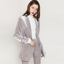Silver Velvet  Blazers Women Simple Design Suit Long Sleeves Ladies Office Work Clothing Mujer Autumn Winter 2017 New Fashion