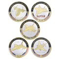 Fashion enamel gold plated army medal coin collectibles F-105 F-16 F-4 F-22 SR-71 fighter Unite States Air force challenge coins