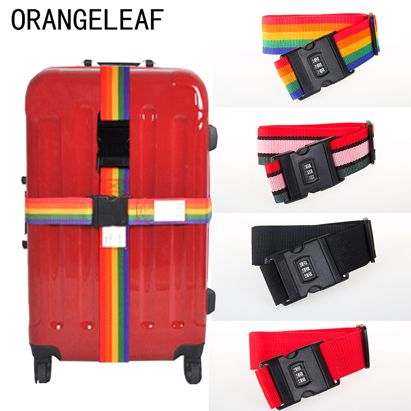 Luggage Strap Cross Belt Packing 200CM Adjustable Travel Accessories Suitcase Nylon 3 Digits Password Lock Buckle Strap Belt Tag
