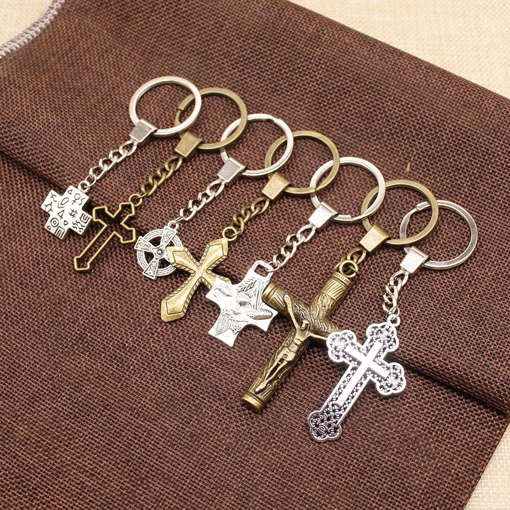 WYSIWYG Mix Religious Cross Key Chain For Diy Handmade Gifts Keychain Pendant