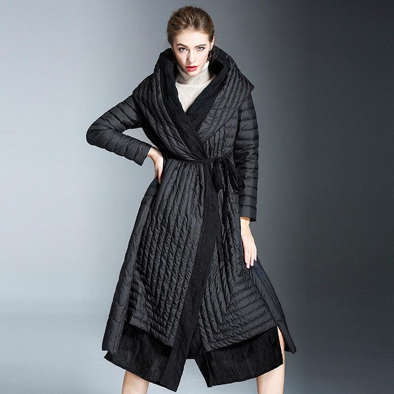 2018 Winter womens fashion frivolous down coat women long overknee high waist hooded loose jackets W78002