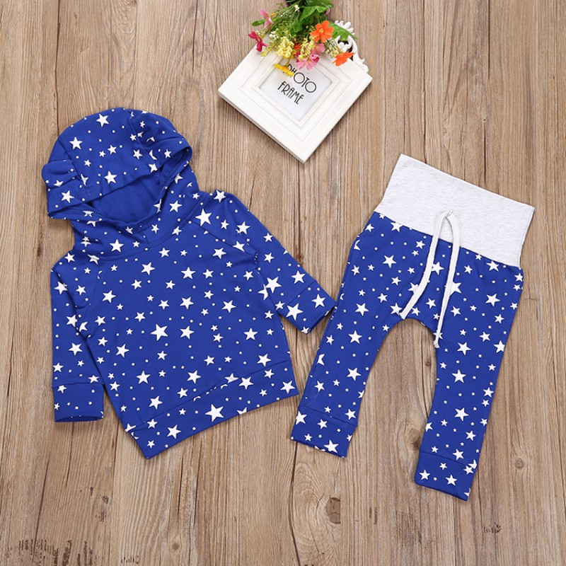 2018 Autumn Winter Fashion Warm Children Suit Comfortable Star Full Sleeved Hooded Cute Baby Sets Hot Sale S2