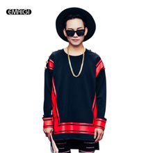 2017 Spring new men sweatshirt red print shoulder button men long sleeve pullover hoodie male street fashion hip hop sweatshirt