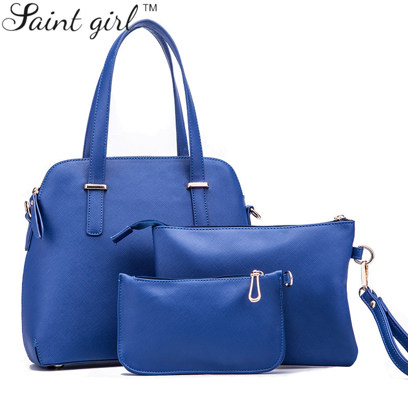 Saint Girl New 2015 Women Handbags PU Handbag Women's Messenger Bags Ladies Brand Bag Handbag+Messenger Bag+Purse 3 Sets SNS054 сумка women handbag women bag 2015 ls3454a women handbag women bag women messenger bags