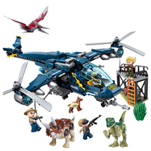 Jurassic Parked Blues Helicopter Pursuit 405pcs Bricks Legoings World Model Building Blocks Toys For Children