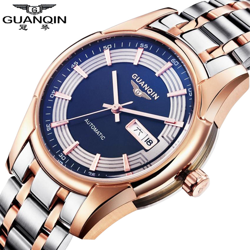 Reloj Watches Men Luxury Brand GUANQIN Automatic Mechanical Watches Waterproof Calendar Steel Men Watch Clock Relogio Masculino men luxury automatic mechanical watch fashion calendar waterproof watches men top brand stainless steel wristwatches clock gift