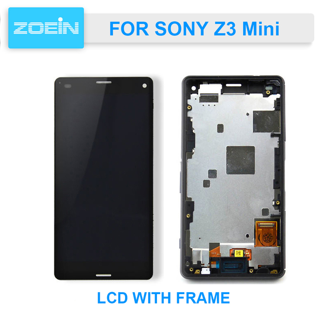 AAA Quality Front Touch Screen Digitizer Display LCD For Sony Xperia Z3 mini Compact D5803 D5833 LCD + Frame Assembly
