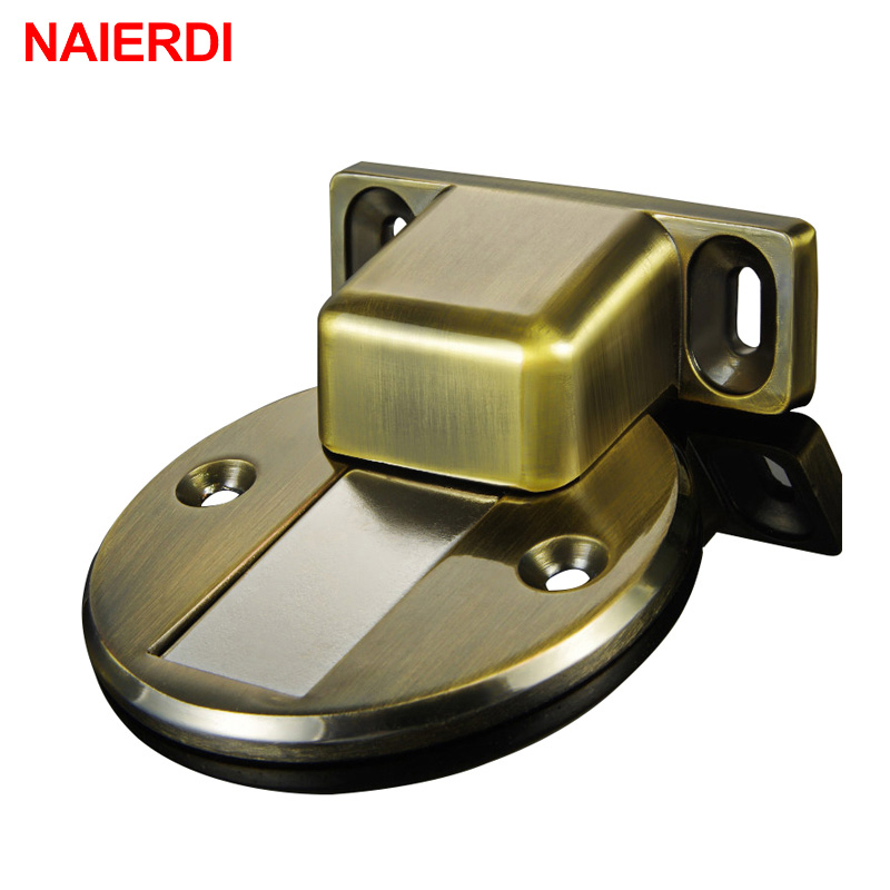 NAIERDI Door Holder Catch Zinc Alloy Casting Floor-Mounted Magnetic Door Stopper Door Stops Floor Suction For Furniture Hardware