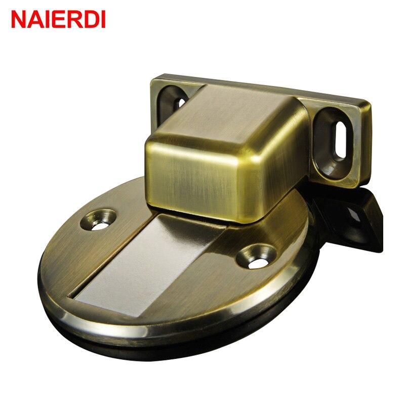 Naierdi puerta catch fundición de aleación de zinc de puerta magnético montado en el piso Tapones Topes piso succión para Materiales para muebles