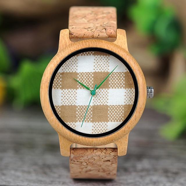 Reloj de madera unisex dial textil rayas cuadros