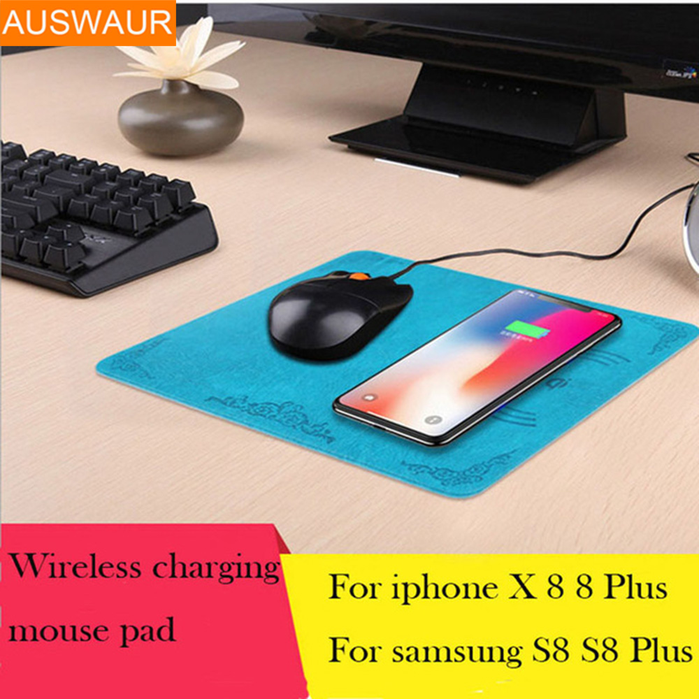 Wireless Charger with Mouse Pad Ultra-thin Qi Wireless Charging Pad Mat for iPhoneX 8 8 Plus Samsung Galaxy Note8 S8 S7 S6/Edge