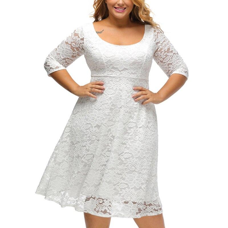 Ladies Midi White Lace Dress 2017 Fall Zippe Back V Vestidos Hollow Out 3/4 Sleeve Elegan Floral Office Woman Black Work Dress