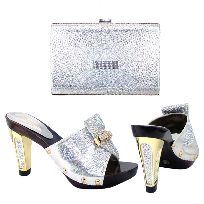 ФОТО Shoes and Bag Set Decorated with Rhinestone Italian Shoes with Matching Bags Matching Shoes and Bags for African Party !HJJ1-11
