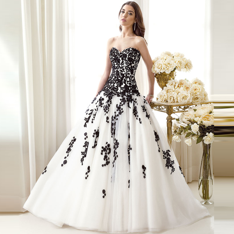 robe de mariage elegant white and black wedding dresses