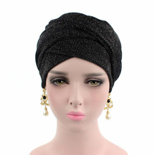 New Europe And The USA Bright Wire Stretch Cloth Women Headband Long Tail Headdress Wrapped Head Hat TJM-215 Hair Accessories
