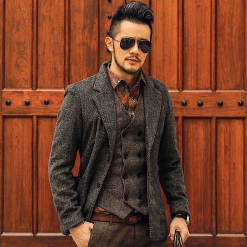 2017 Casual Men Blazer business Slim fit Costume Homme Suit Blazer Masculino Male Woolen Suits Jacket