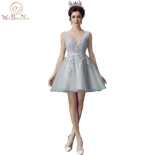 Real Picture Prom Dresses Short Lace Gray vestido sereia Deep V neck ...