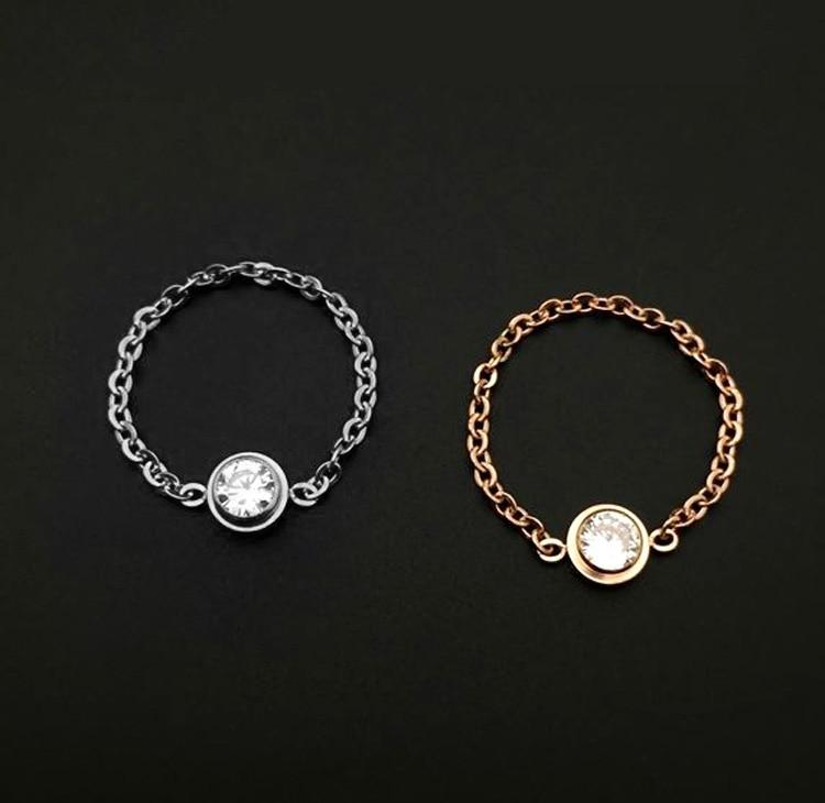 2016 Ny Populære Forgylt Innstilling En Skinnende Kubisk Zircon Mote Kjede Ring Knuckle Tail Rings Smykker For Women