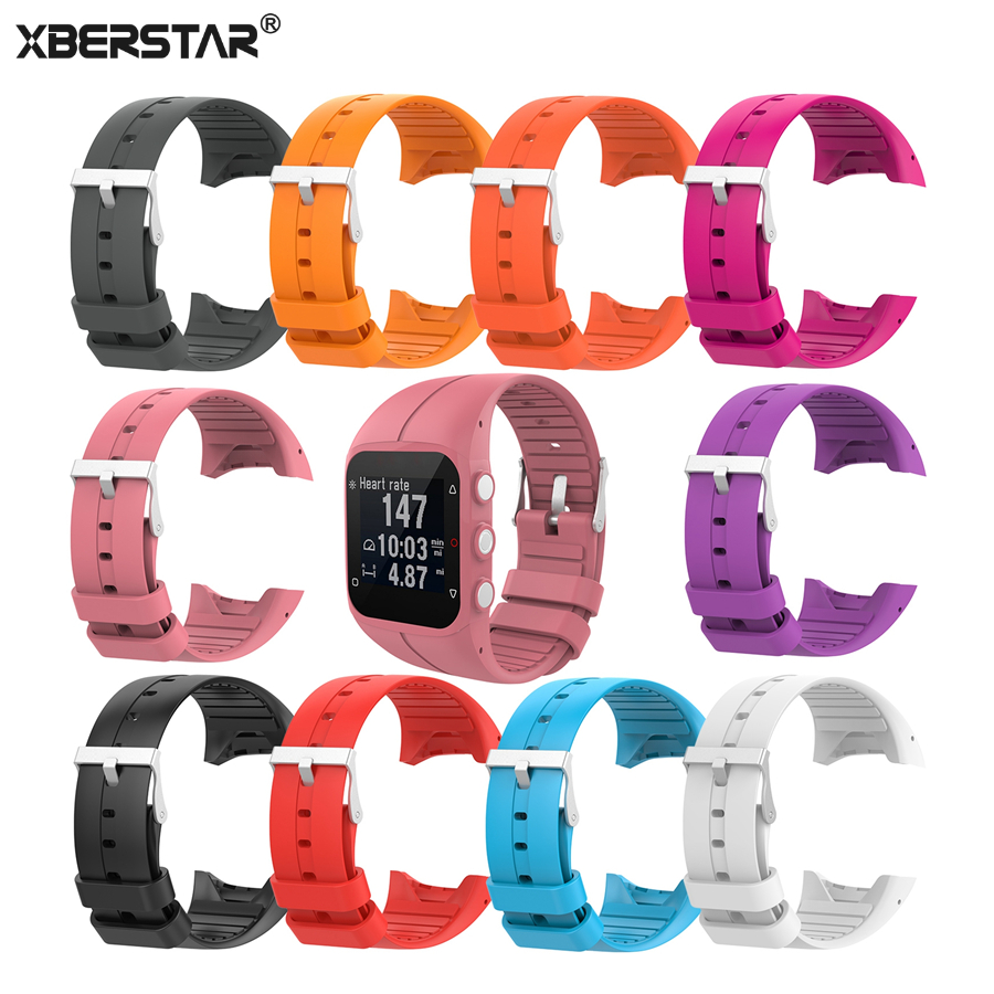 XBERSTAR Silicone Strap for Polar M400 M430 Replacement Watchband with Pins Tools Metal Buckle silicone watch band wristband bracelet replacement for polar m400 m430 gps watch