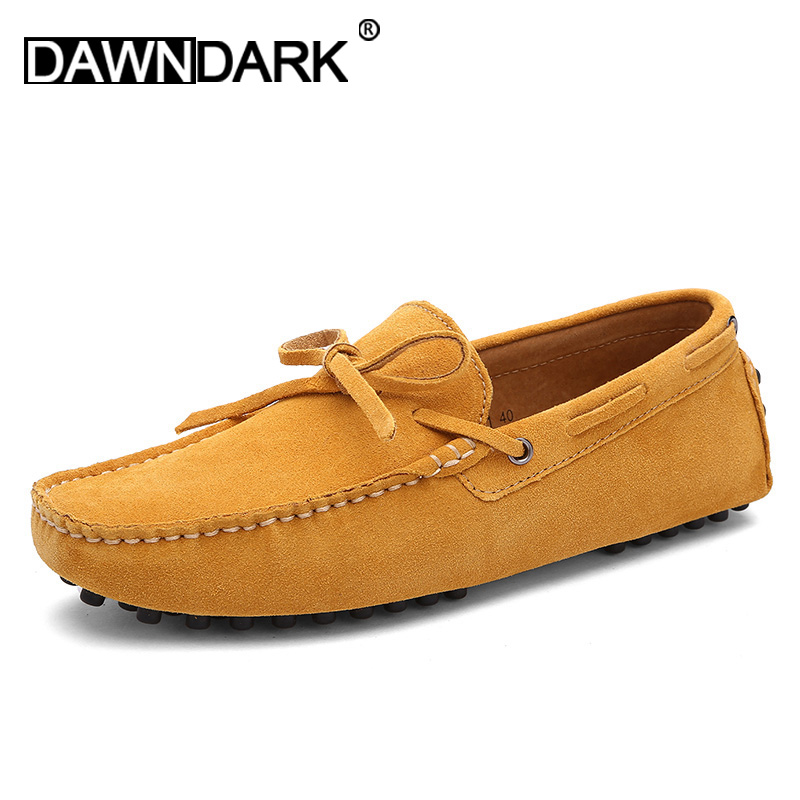 Men Casual   Leather   Shoes 2018 New Male Cow   Suede   Fashion Shoes Moccasins Slip on Yellow Coffee Man Luxury Flats Loafers
