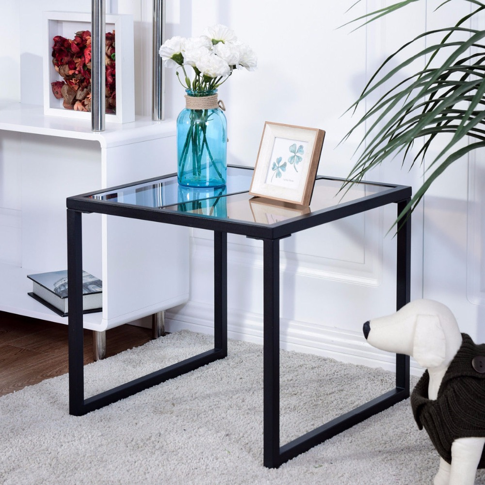Giantex Square Side End Table Tempered Glass Top Metal Frame