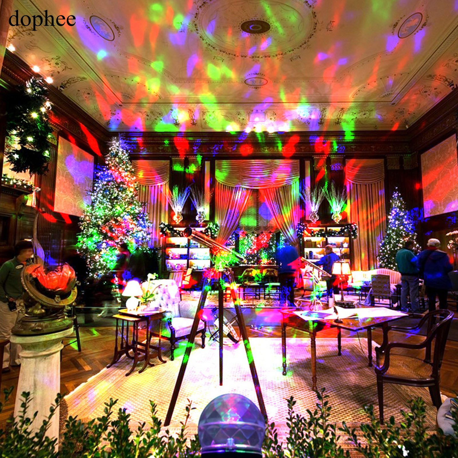 dophee Outdoor Projector Lights IP44 Waterproof and Cool White + multi-Color for Christmas or Birthday Party Holiday decoration.