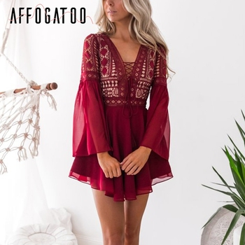Affogatoo Chiffon hollow out lace summer dress Deep v neck lace up flare sleeve sexy dress Elegant ruffle wine red short dress semi formal summer dresses