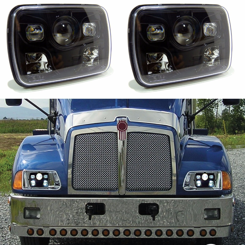 2X New Square 7x6 LED Headlights H4 Light For Jeep Wrangler YJ Cherokee Comanche 5x7 Led Square Headlights Led working light 2pcs brand new high quality superb error free 5050 smd 360 degrees led backup reverse light bulbs t15 for jeep grand cherokee