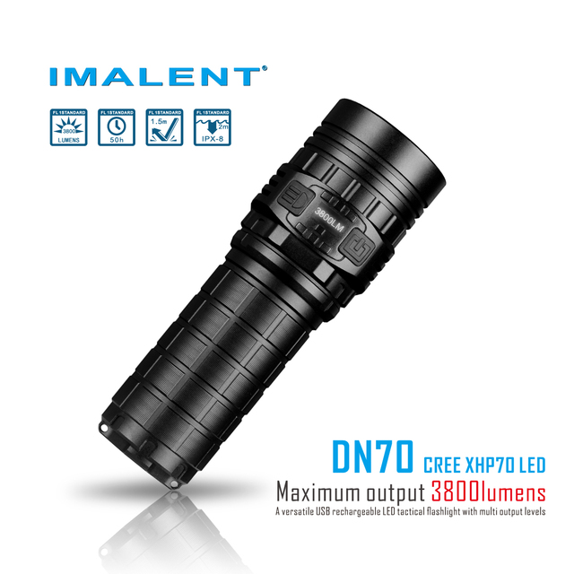 IMALENT DN70 Flashlights Rechargeable Oled Screen Max 3800lm Beam Distance 325Meter Outdoor Torch 26650 Li Battery Lanterna Camp