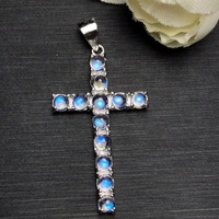 Uloveido Natural Blue Moonstone Cross Pendant Necklace for Girl, 925 Sterling Silver Gemstone Cross Necklace for Women FN266