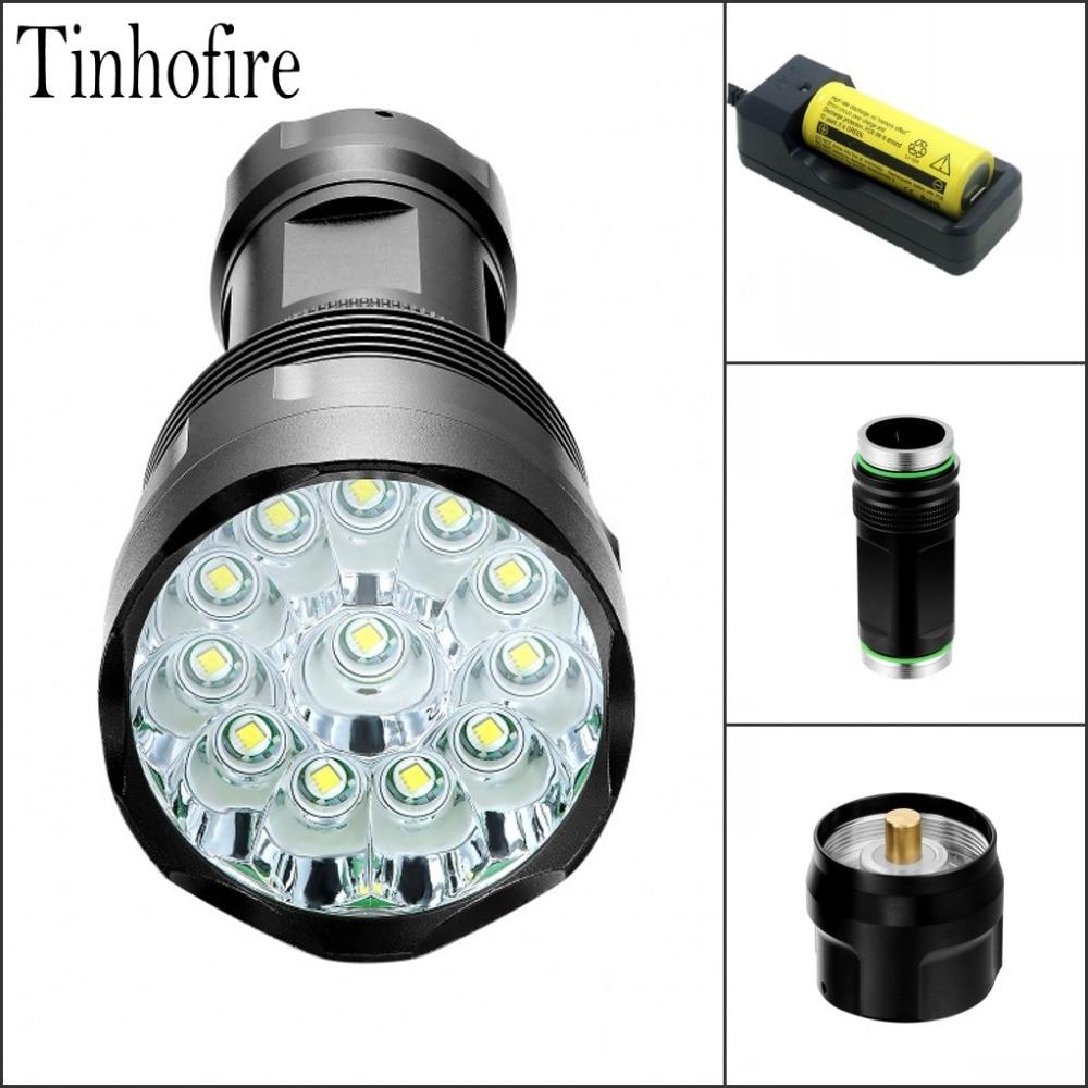 Tinhofire T12 Flashlight 5 Mode 22000 Lumens 12xCREE XM-L XML T6 LED Flashlight By 1*18650/ 26650 Battery High Power Torch new flashlight 18000 lumens high power 15x xml t6 led torch 1000m lighting distance hunting light by 4x 26650 battery