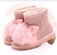 Princess Girls Rabbit Shoes Snow Boots For Girls Winter Shoes With Natural Fur Kids Genuine Leather