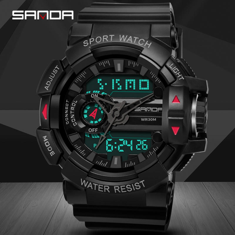 Sanda Sport-Watches Waterproof Led-Backlight Military Relogio Analog Masculino Digital
