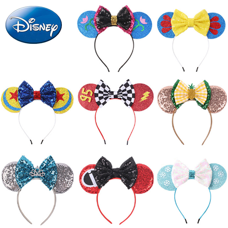 Disney Lovely Girls Bows Minnie Mickey Headband Ears Hair-Accessories Kid Women Head-Accessories Headdress Head Band Party 2019