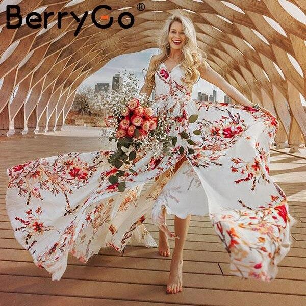 cefc157749e2 Vestido largo sin mangas con cuello en V y estampado floral bohemio de  BerryGo para mujer