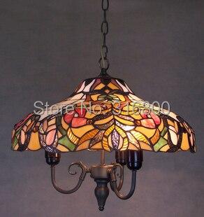 Европейский 45 см золотая рыбка стол большой droplight Тиффани ретро гостиная стекло освещения ночной бар Кофе зал garden арт лампа