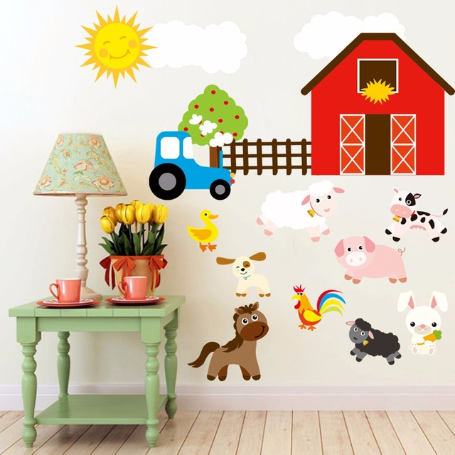 Cartoon Diy Farm Animals Wall Stickers Home Decoration Decor For Kids Room Animal Sticker Removable Decal