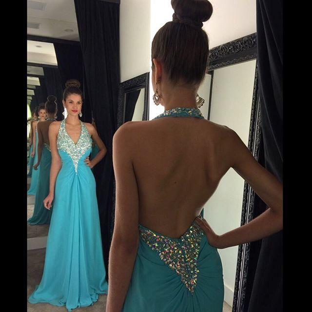 Blue Halter Neck Beaded A-Line Long   Evening     Dresses   2017 Backless Sleeveless Prom Party   Dresses   Formal   Dress   Vestido De Noiva