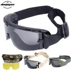 Army okulary taktyczne Airsoft okulary Paintball strzelanie okulary wiatroszczelna taktyczna wojskowa gogle anty uv okulary ochronne w Okulary turystyczne od Sport i rozrywka na