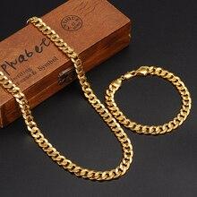 Классическое модное Настоящее 24 К желтое цельное Золотое мужское женское ожерелье браслет Ювелирные наборы цельная цепочка