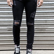 Hip Hop Black Ripped Jeans Men 2018 New Fashion Knee Holes Pencil Jeans Homme Casual Cotton Stretch Jeans Pants Denim Trousers(China)