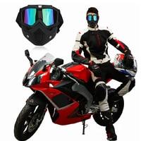 Moto Motocykl Gogle Rocznika Otwarta Twarz Kask Maska Odpinany Ski Bike Motocross Kask Motocyklowy Gogle Okulary Maska Czarny