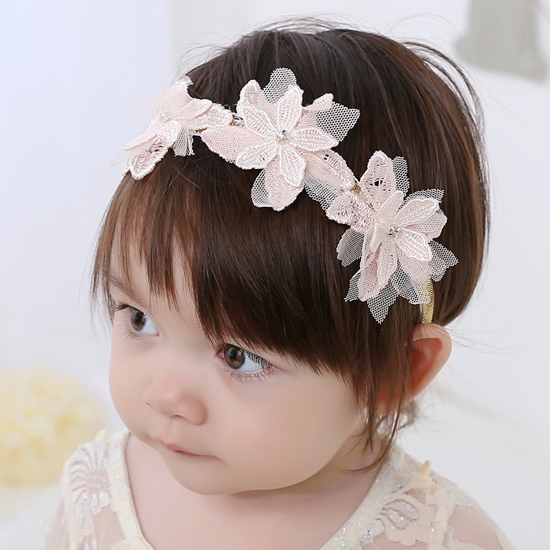 Sweet Baby Flower Headband Lace Flowers Rhinestone Kids Girl Hairband Elasticity Headdress for Flower Girl Dresses multicolor flower bowknot hairband
