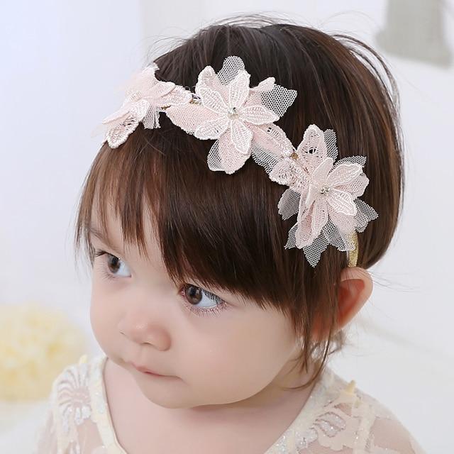 e6d9cb57ffd6 Sweet Baby Flower Headband Lace Flowers Rhinestone Kids Girl Hairband  Elasticity Headdress for Flower Girl Dresses