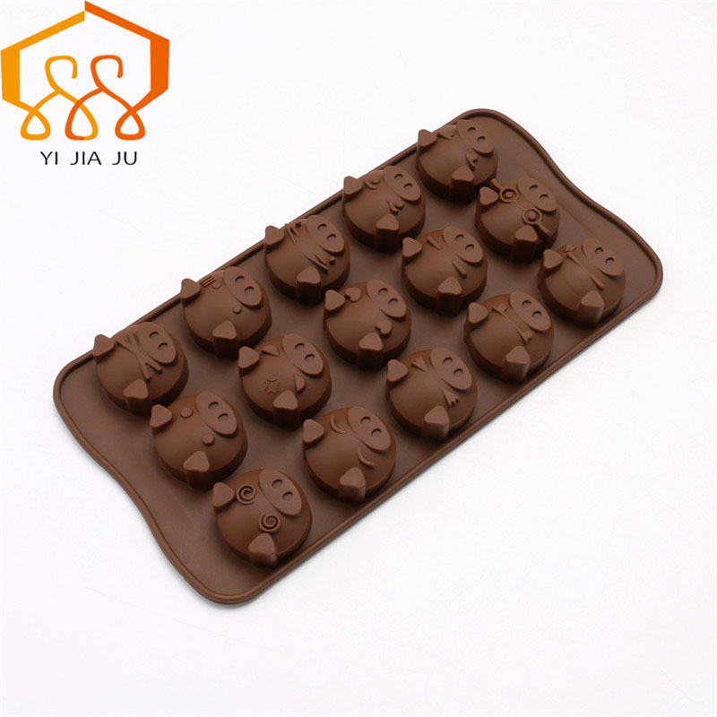 Cake Molds Bakeware Objective Diy Chocolate 15 Hole Cute Expression Pig Head Cookies Mini Cake Silicone Mold At Any Cost