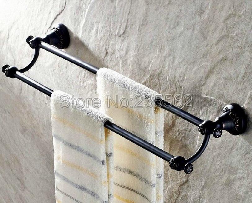 negro de aceite de antigedades de latn moderno cuarto de bao montado en la pared doble