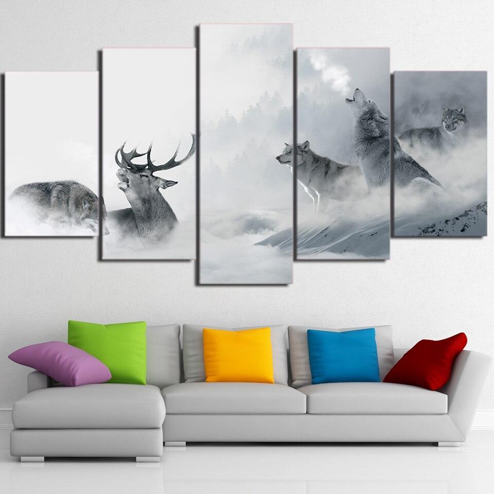 Tuval Resimleri Ev Dekorasyonu Baskı 5 Adet Beyaz Howling Kurt Grup Geyik Boyama Yatak Odası Duvar Sanat Ay Gece Orman poster çe