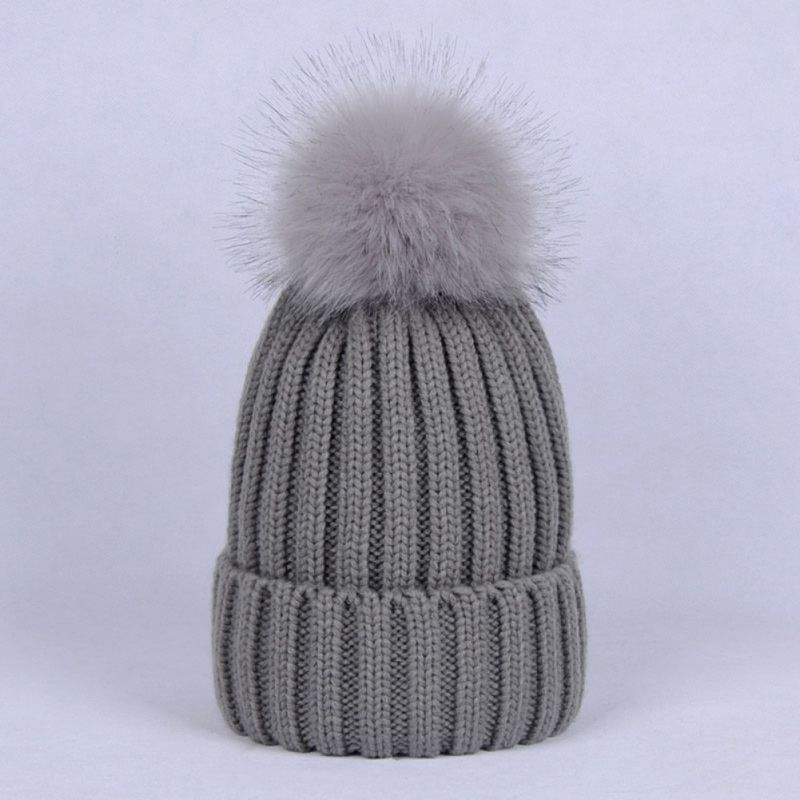 Pom Pom Knitted Hat Fashion Unisex New Vertical Stripes Imitation Braids Autumn Winter Big Hat Hair Ball 2018 New Y9