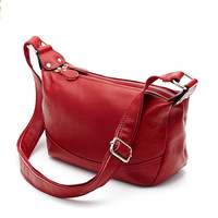 Ougger Medium Leather Bags Women Crossbody Cell Phone Shoulder Bag Casual Style Red Genuine Leather Hobos Bag for Motion